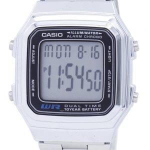 Casio Digital ruostumattomasta teräksestä hälytys Chrono Dual aika A178WA 1ADF A178WA-1A Miesten kello