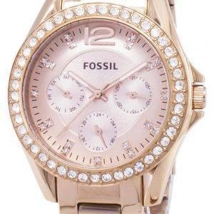 Fossiilisten Riley monitoimilaitteet Crystal Rose Gold ES2811 naisten kello