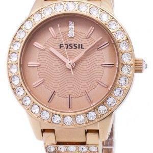 Fossiilisten Jesse Crystal ruusu kullan sävy ES3020 naisten kello
