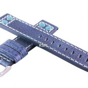 Sininen suhde tuotemerkin nahkahihna 20mm SKX007, SKX009, SKX011, SRP497, SRP641