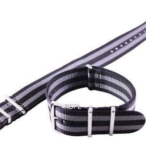Seiko 22mm harmaa & musta Naton hihna SKX007, SKX009, SKX011, SRP497, SRP641