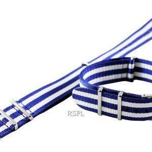 Seiko 22 mm sininen & valkoinen Naton hihna SKX007, SKX009, SKX011, SRP497, SRP641