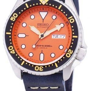 Seiko automaattinen SKX011J1 LS15 Diver 200M tummansininen nahka hihna Miesten Watch