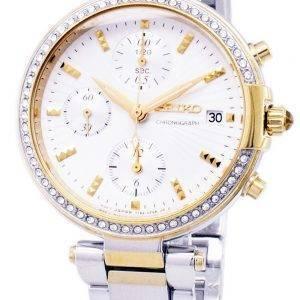 Seiko Chronograph kvartsi Diamond aksentti SNDV42 SNDV42P1 SNDV42P naisten Watch