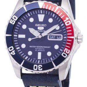 Seiko 5 urheilu SNZF15K1 LS15 automaattinen tummansininen nahka hihna Miesten Watch