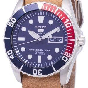 Seiko 5 urheilu SNZF15K1 LS18 automaattinen ruskea nahka hihna Miesten Watch