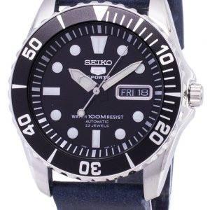 Seiko 5 urheilu SNZF17K1 LS15 automaattinen tummansininen nahka hihna Miesten Watch