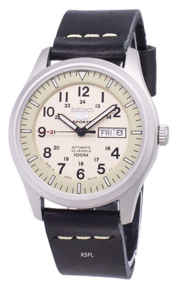 Seiko 5 urheilu SNZG07J1 LS13 sotilaallinen Japanissa valmistettu musta nahka hihna Miesten Watch