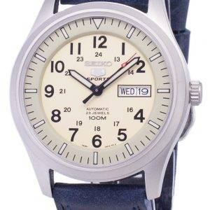 Seiko 5 urheilu SNZG07K1 LS13 automaattinen tummansininen nahka hihna Miesten Watch