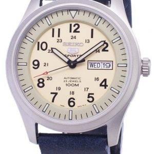Seiko 5 urheilu SNZG07K1 LS15 automaattinen tummansininen nahka hihna Miesten Watch