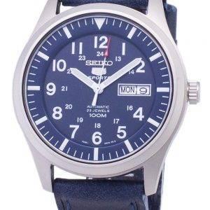 Seiko 5 urheilu SNZG11K1 LS13 automaattinen tummansininen nahka hihna Miesten Watch
