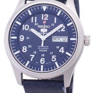 Seiko 5 urheilu SNZG11K1 LS15 automaattinen tummansininen nahka hihna Miesten Watch