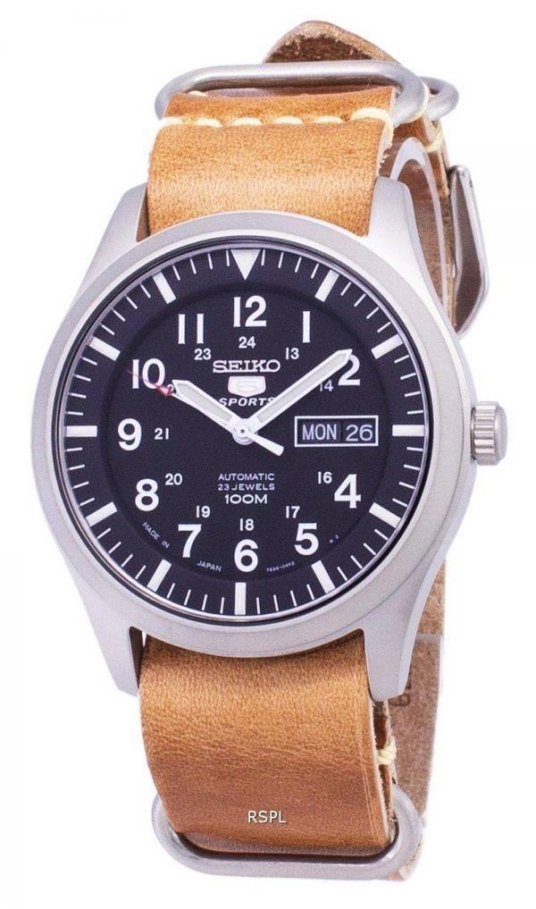 Seiko 5 urheilu SNZG15J1 LS18 automaattinen Japanissa valmistettu ruskea nahka hihna Miesten Watch