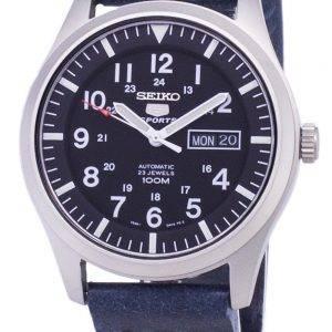 Seiko 5 urheilu SNZG15K1 LS15 automaattinen tummansininen nahka hihna Miesten Watch