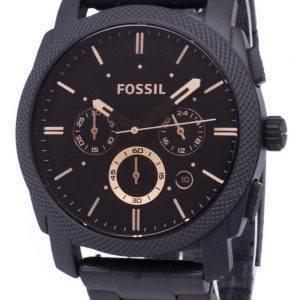 Fossiilisten kone keskikokoinen Chronograph musta IP ruostumatonta terästä FS4682 Miesten kello