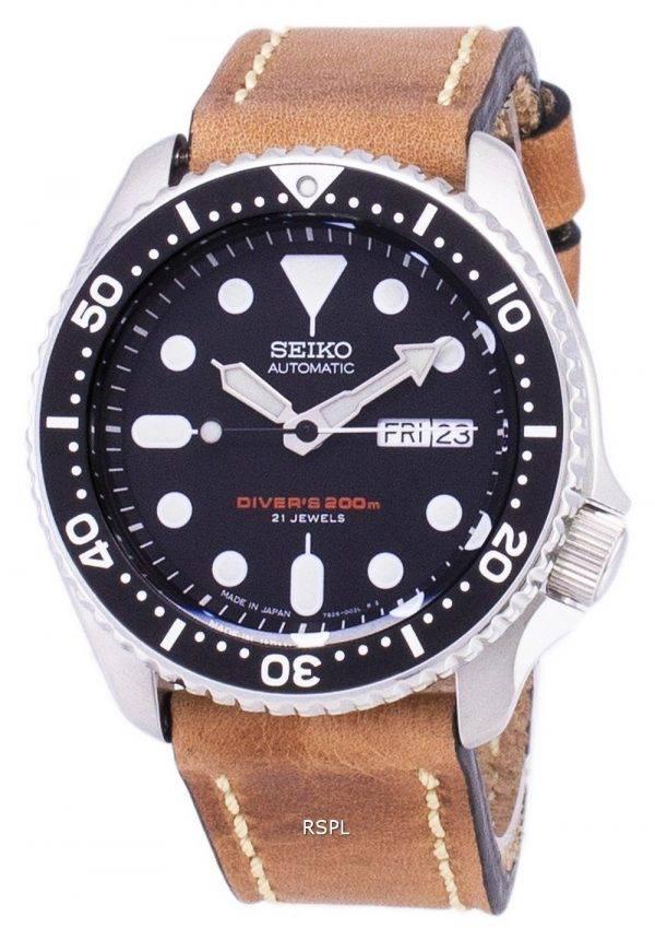 Seiko automaattinen SKX007J1 LS17 Diver 200M Japaniin teki ruskea nahka hihna Miesten kello