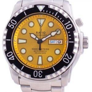 Suhdevapaa Diver Helium-Safe 1000M Sapphire Automaattinen 1068HA96-34VA-YLW miesten kello