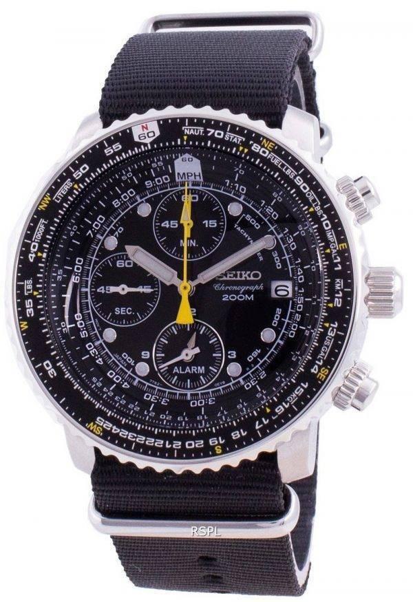 Seiko Pilot&#39,s Flight SNA411P1-VAR-NATO4 Cronógrafo de cuarzo 200M Reloj para hombre