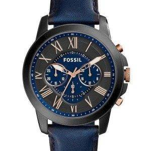 Fossil Grant Chronograph musta ja sininen kellotaulu sininen nahka FS5061 miesten kello