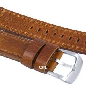 Ruskea suhde tuotemerkin nahkahihna 22mm SKX007, SKX009, SKX011, SNZG07, SNZG015
