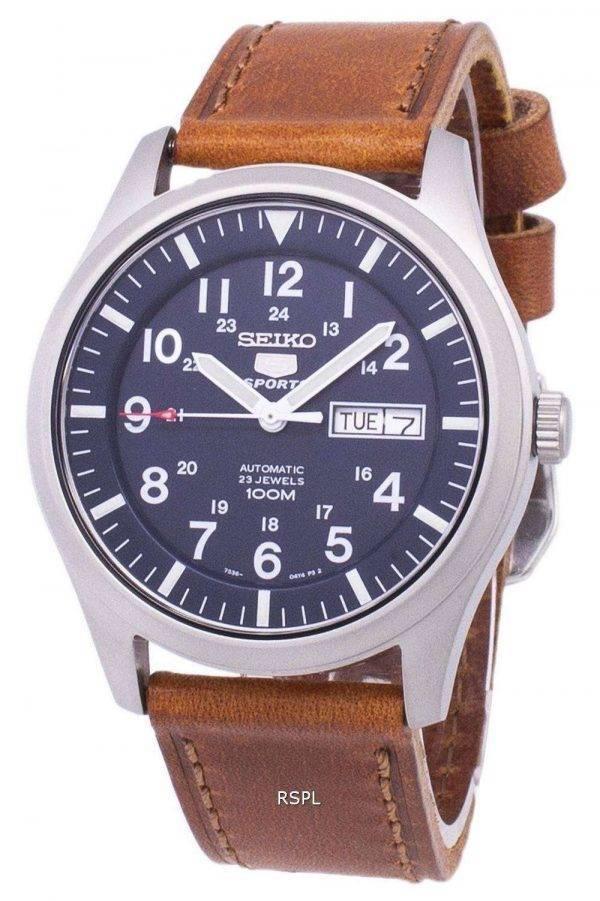 Seiko 5 urheilua automaattinen suhde ruskea nahka SNZG11K1 LS9 Miesten Watch