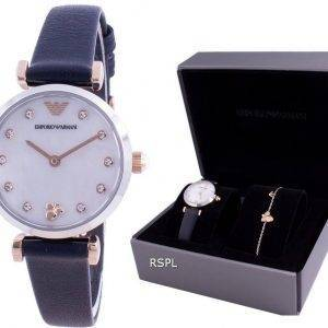 Emporio Armani Gianni T-Bar Diamond Accents Quartz AR80036 With Gift Set Womens Watch