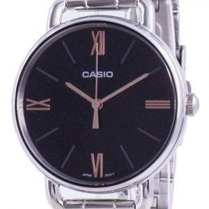 Casio musta soittaa ruostumatonta terästä kvartsi LTP-E414D-1A LTPE414D-1A naisten kello