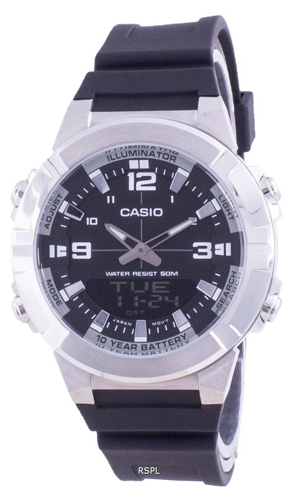 Casio Analoginen digitaalinen maailmanajan hartsihihna AMW-870-1A AMW870-1 Miesten kello