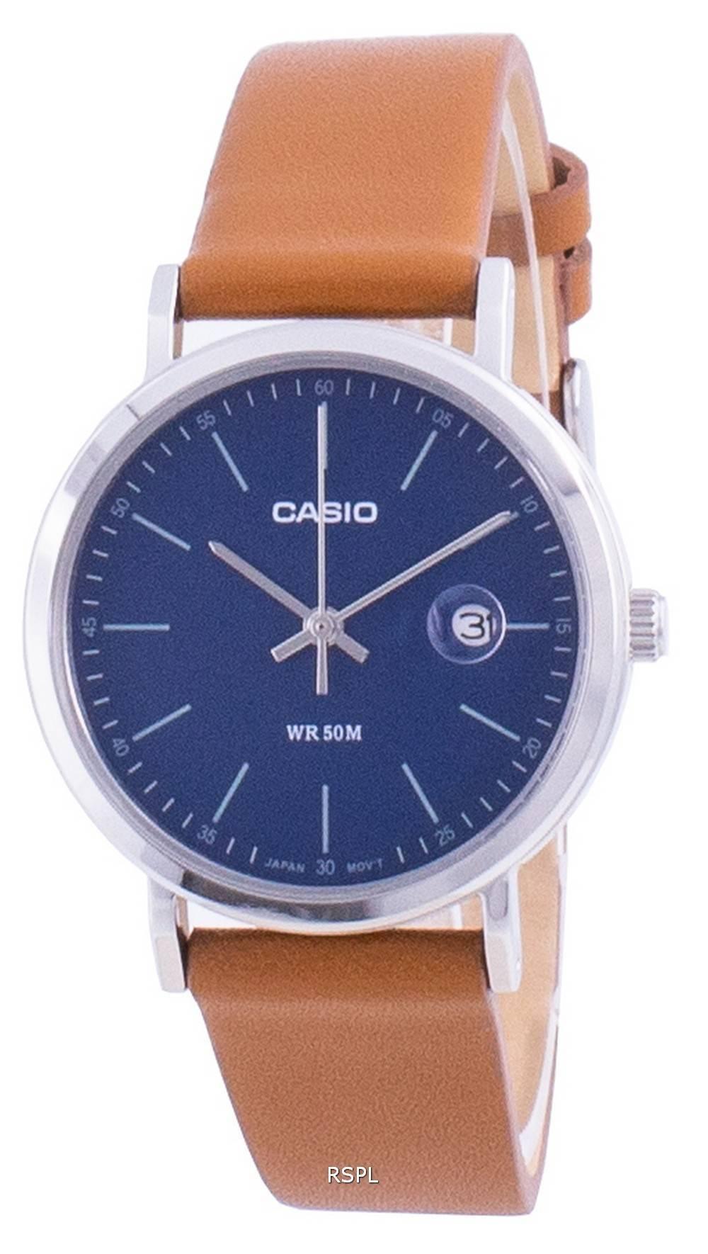 Casio analoginen sininen soittaa nahkahihna LTP-E175L-2E LTPE175L-2 naisten kello