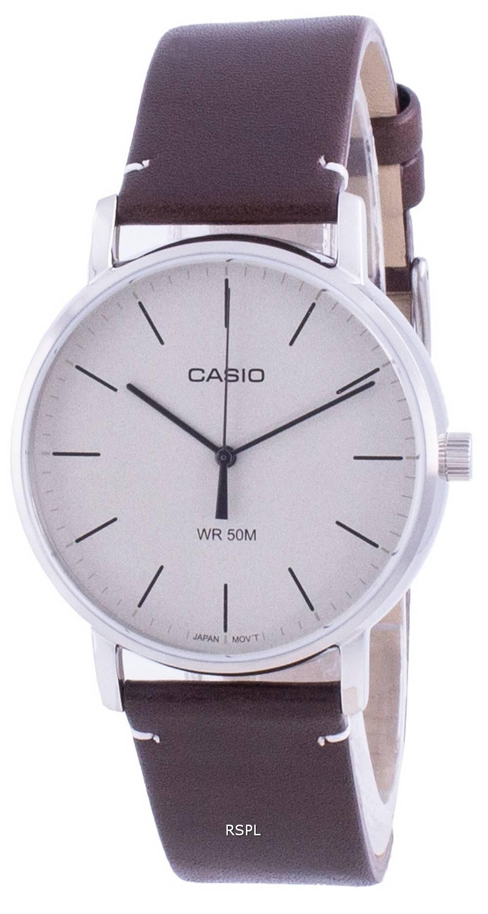 Casio valkoinen soittaa nahkahihna kvartsi MTP-E171L-5E MTPE171L-5 miesten kello