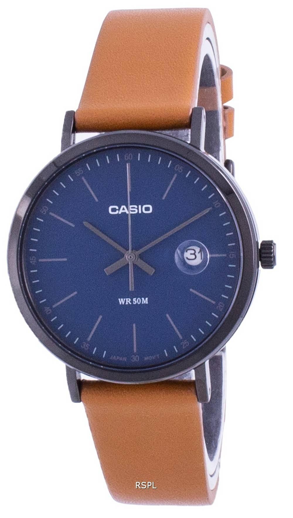 Casio analoginen sininen soittaa nahkahihna MTP-E175BL-2E MTPE175BL-2 miesten kello