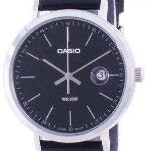 Casio analoginen musta soittaa nahkahihna MTP-E175L-1E MTPE175L-1 miesten kello