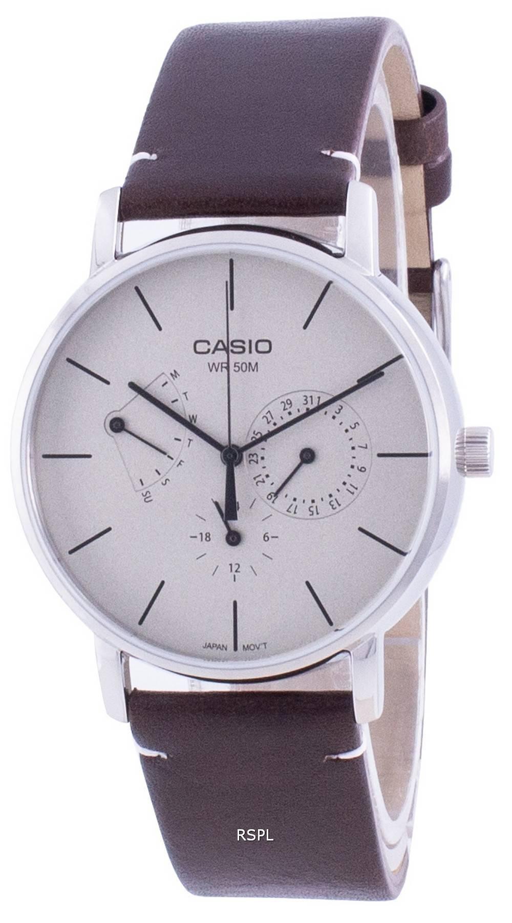 Casio valkoinen soittaa nahkahihna kvartsi MTP-E320L-5E MTPE320L-5 miesten kello