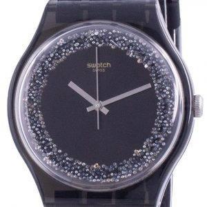 Swatch Darksparkles musta soittaa silikoni hihna kvartsi SUOB156 miesten kello