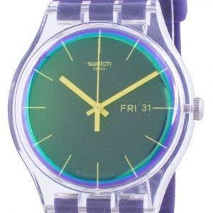 Swatch Polapurple Purple Dial Silicone Strap Quartz SUOK712 Miesten kello