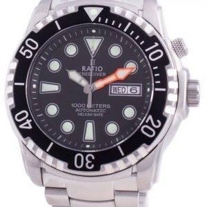 Suhdevapaa Diver Helium-Safe 1000M Sapphire Automaattinen 1068HA96-34VA-BLK miesten kello