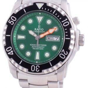 Suhdevapaa Diver Helium-Safe 1000M Sapphire Automaattinen 1068HA96-34VA-GRN miesten kello