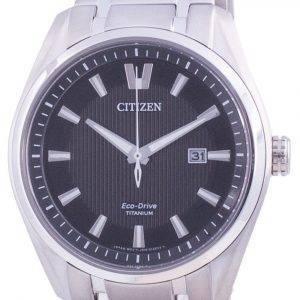 Citizen Super Titanium Schwarzes Zifferblatt Eco Drive AW1240-57E 100M Herrenuhr