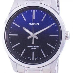 Casio Analog Blaues Zifferblatt Edelstahl Quarz MTP-E180D-2A MTPE180D-2 Herrenuhr