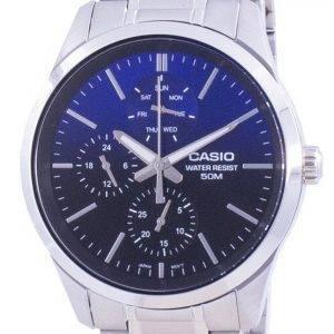 Casio Analog Blaues Zifferblatt Edelstahl Quarz MTP-E330D-2A MTPE330D-2 Herrenuhr
