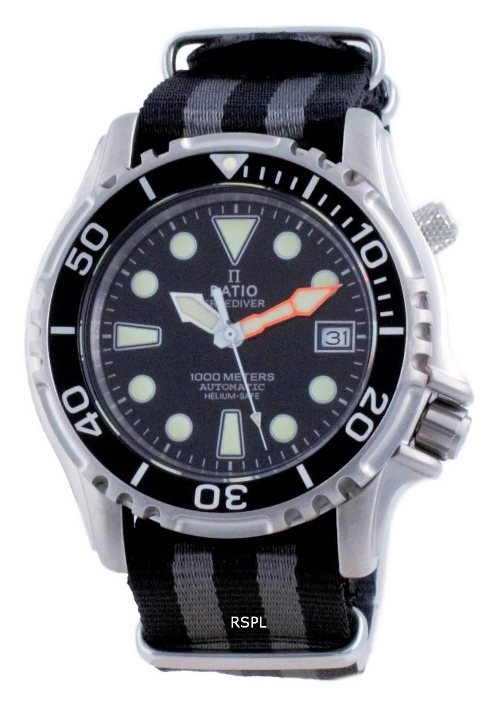 Suhde vapaa Diver Helium Safe Nylon Automatic Diver&#39,s 1066KE20-33VA-BLK-var-NATO1 1000M miesten kello
