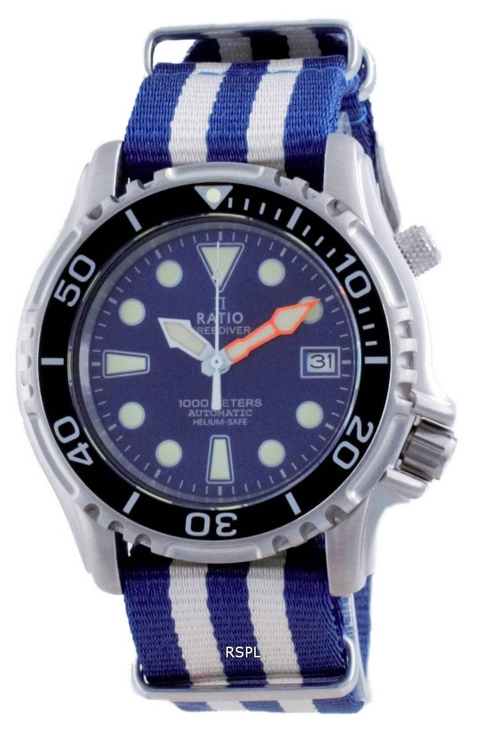 Suhde vapaa Diver Helium Safe Nylon Automatic Diver&#39,s 1066KE20-33VA-BLU-var-NATO2 1000M miesten kello