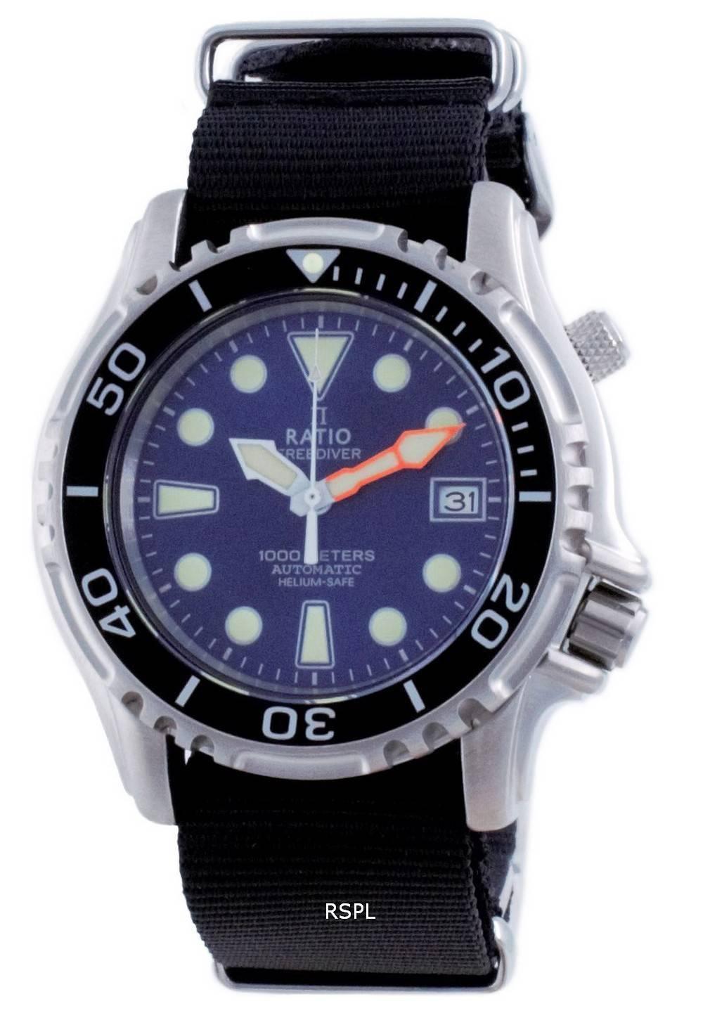 Suhde vapaa Diver Helium Safe Nylon Automatic Diver&#39,s 1066KE20-33VA-BLU-var-NATO4 1000M miesten kello