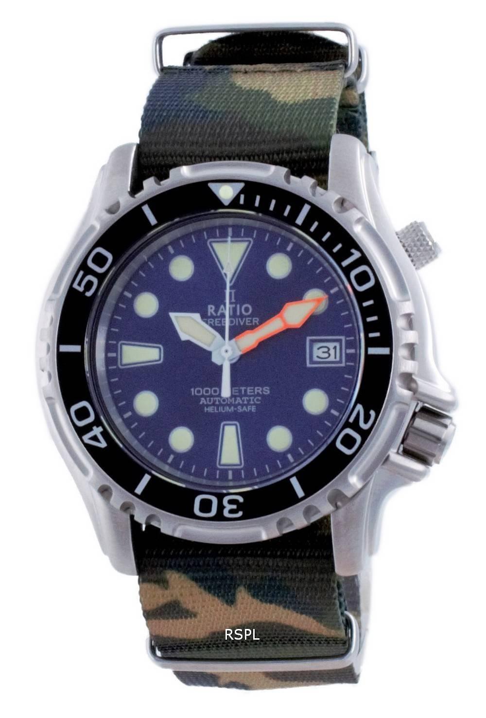 Suhde vapaa Diver Helium Safe Nylon Automatic Diver&#39,s 1066KE20-33VA-BLU-var-NATO5 1000M miesten kello