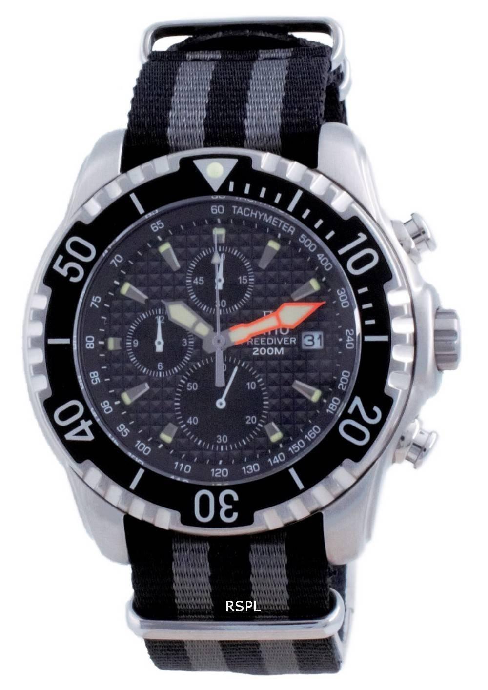 Suhde vapaa sukeltaja Chronograph Nylon Quartz Diver&#39,s 48HA90-17-CHR-BLK-var-NATO1 200M miesten kello
