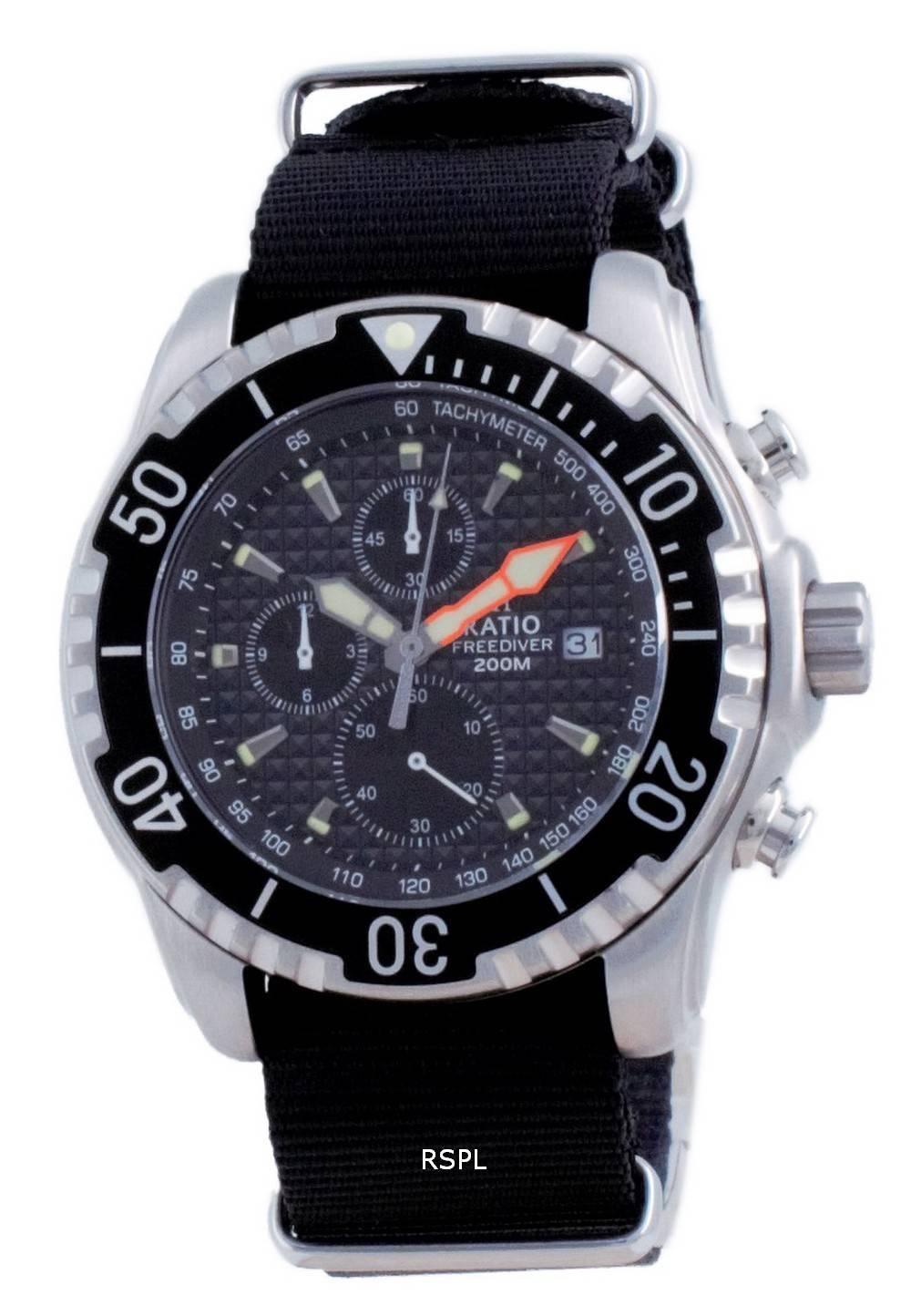 Suhde vapaa sukeltaja Chronograph Nylon Quartz Diver&#39,s 48HA90-17-CHR-BLK-var-NATO4 200M miesten kello