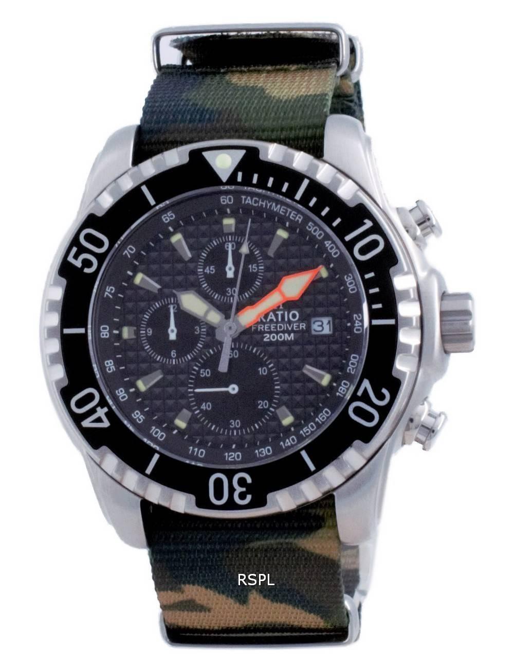 Suhde vapaa sukeltaja Chronograph Nylon Quartz Diver&#39,s 48HA90-17-CHR-BLK-var-NATO5 200M miesten kello