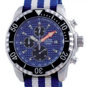 Suhde vapaa sukeltaja Chronograph Nylon Quartz Diver&#39,s 48HA90-17-CHR-BLU-var-NATO2 200M miesten kello