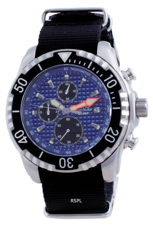 Suhde vapaa sukeltaja Chronograph Nylon Quartz Diver&#39,s 48HA90-17-CHR-BLU-var-NATO4 200M miesten kello