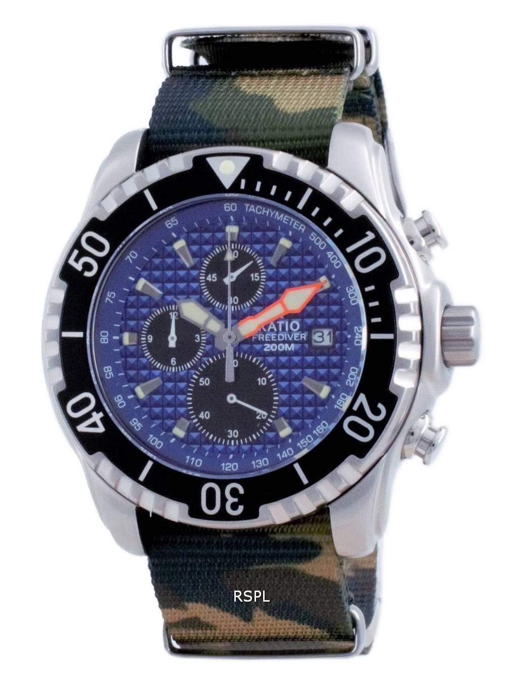 Suhde vapaa sukeltaja Chronograph Nylon Quartz Diver&#39,s 48HA90-17-CHR-BLU-var-NATO5 200M miesten kello